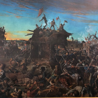 Dawn at the Alamo painting (detail)