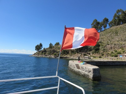 The flag flying on our boat in Lake Titicaca