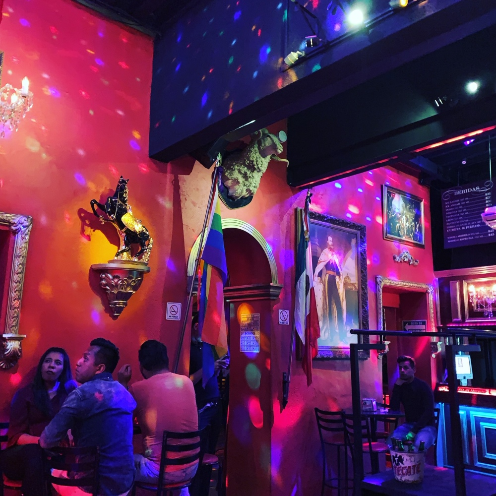 Colorful interior of Maximiliano's gay bar