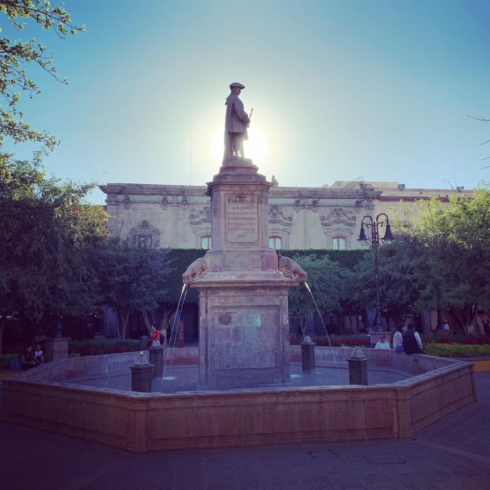 Queretaro's famous dog statue fountain in the Plaza de Armas