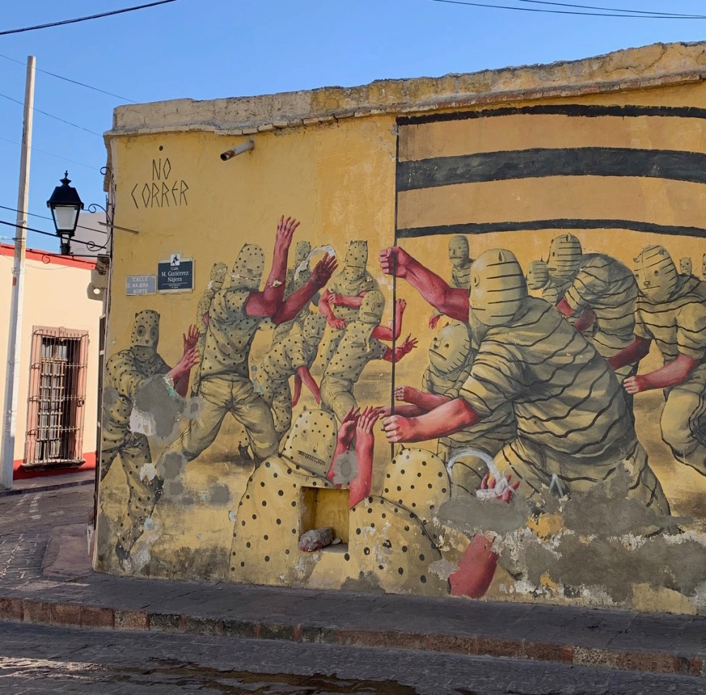 Random mural on a building on a side street in Queretaro
