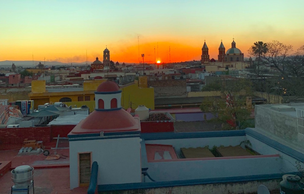 Sunset over old town Querétaro