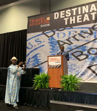 """Minister of State Bello Bouba Maigari speaking about Cameroon: """"All Africa in One Country"""" in the Destination Theater"""