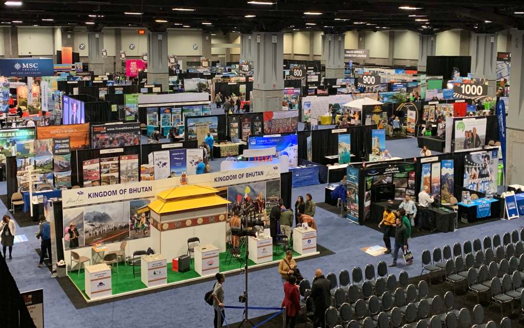 Birdseye view of the exhibit hall at the DC Travel & Adventure Show
