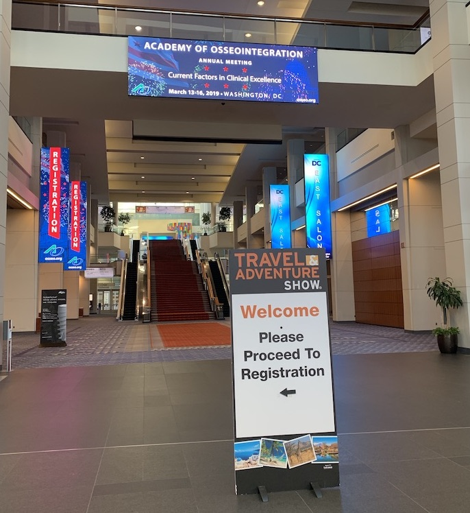 Welcome sign to the DC Travel & Adventure Show 2019, located in the entrance of the Convention Center