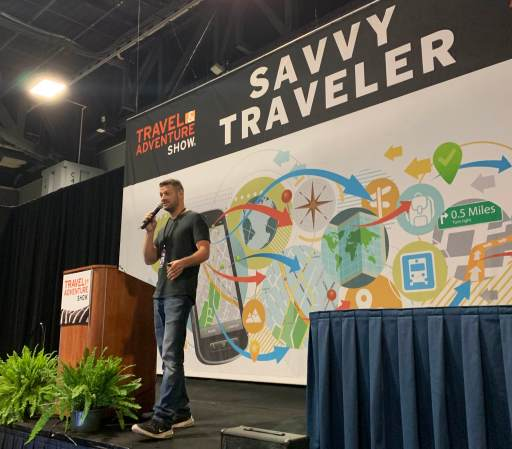 Lee Abbamonte kicks off the morning at the Savvy Traveler stage, speaking about his world travels
