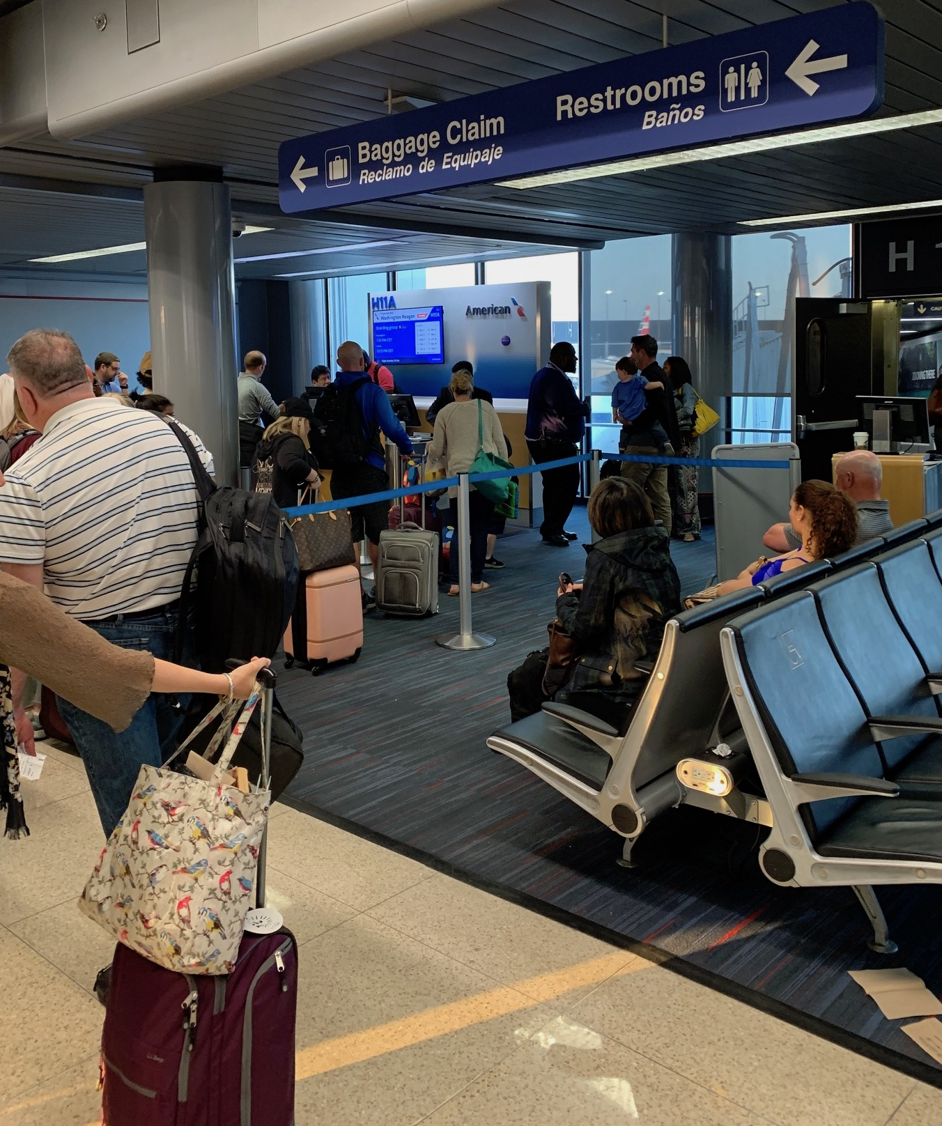 Boarding line on American Airlines to DC, having successfully flown from Manhattan to Chicago on the rescheduled return flight.