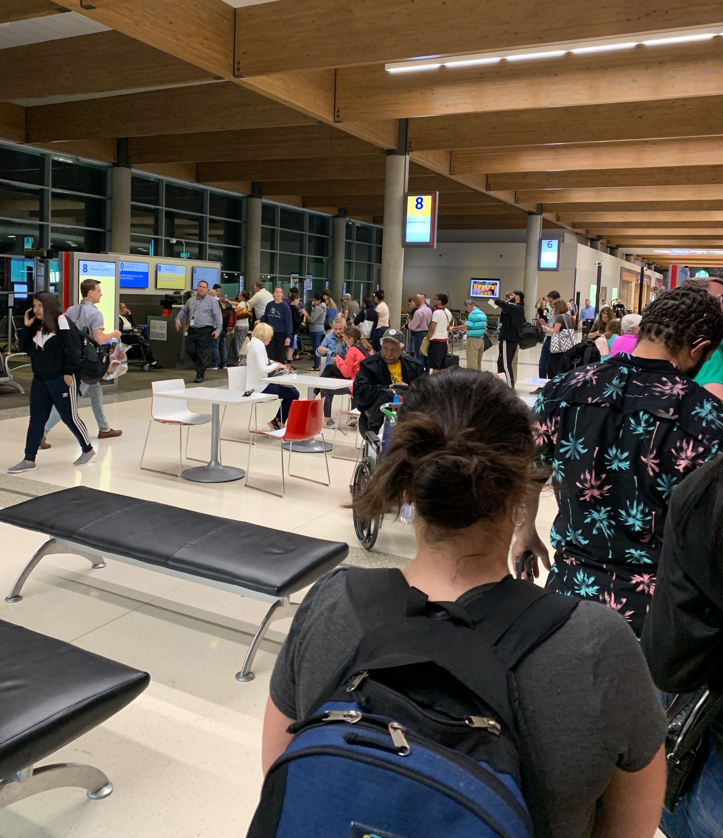 Long line of would-be passengers waiting to talk to a Southwest representative after the flight was cancelled for the night