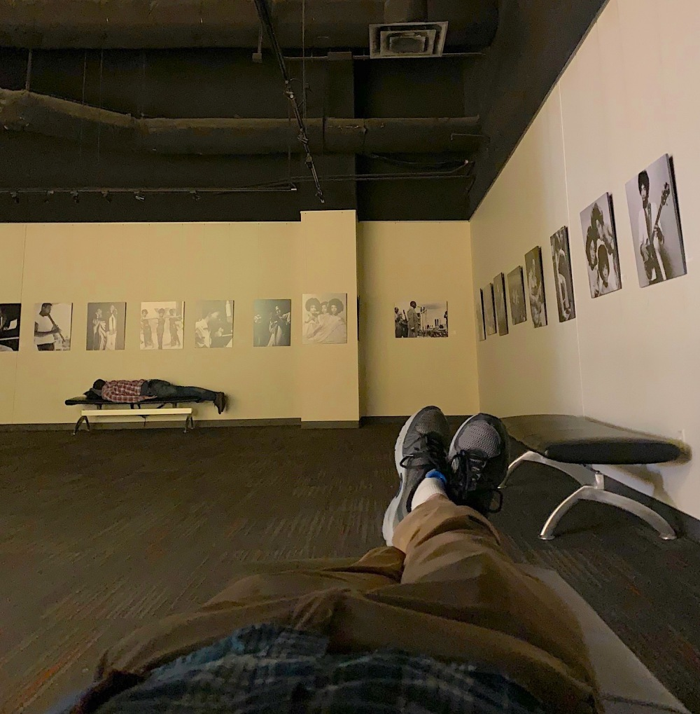 The bench I slept on overnight at a small gallery in the Dallas airport