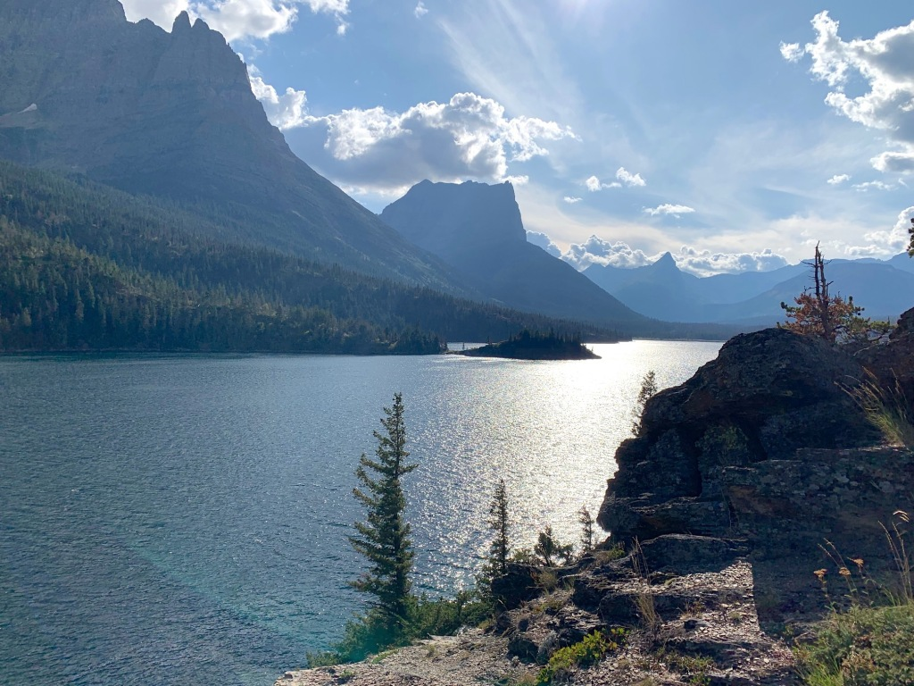 Beautiful lake Saint Mary in Glacier National Park, Montana