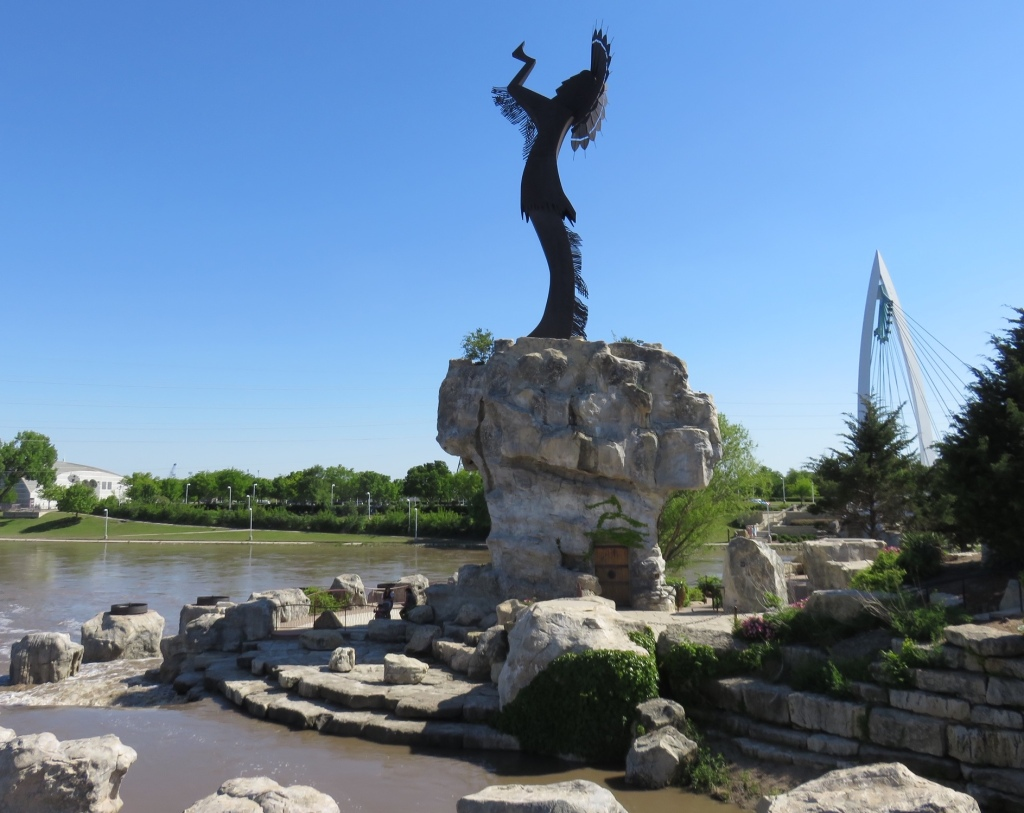 Keeper of the Plains monument on the Arkansas River in Wichita, Kansas