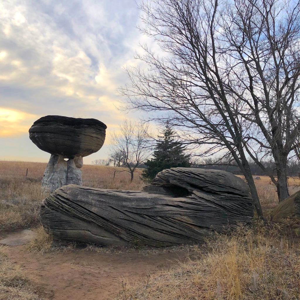Two rock formations at Mushroom Rock State Park in Ellsworth County, Kansas