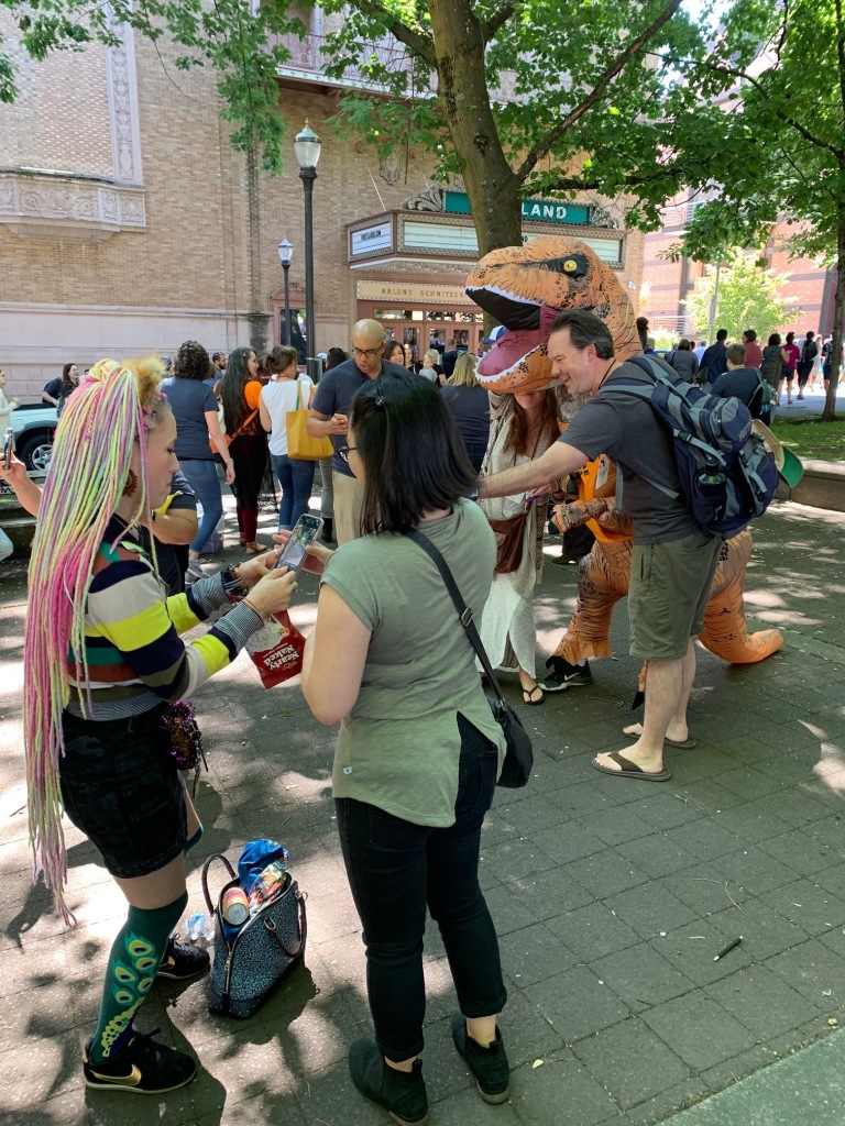 During an intermission between keynotes, we had an outdoor snack break with a cultural performance and...a dinosaur!