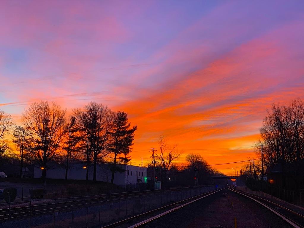Rockville sunrise over the train tracks