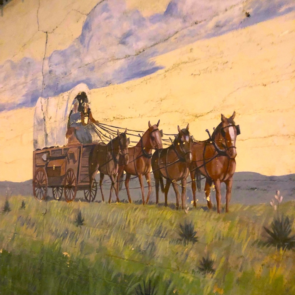 Mural of covered wagon and horses crossing the Santa Fe Trail, Syracuse